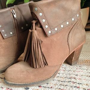 Neosens Tassle Booties with Carved Heel